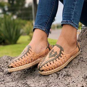Huaraches leather tan/black